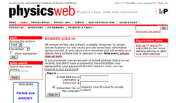 Screen Capture of PhysicsWeb login page