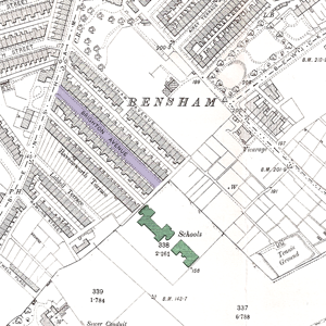 A scan of the relevant section of the old OS map, showing Brighton Avenue and the associated school
