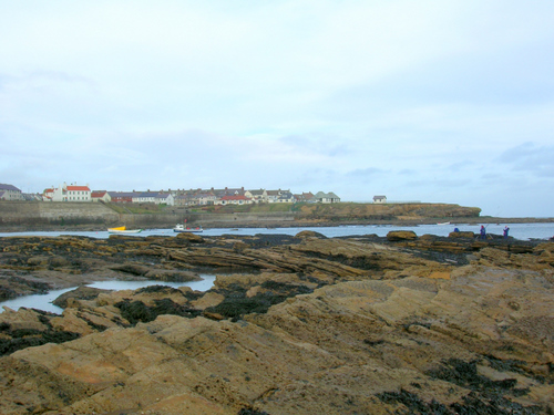 Photograph: Boats in the bay. People fishing. Pretty houses facing the coast. Cullercoats on a windy day