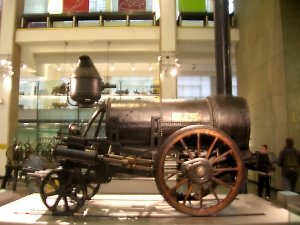 Photograph of Stephenson's Rocket in the Science Museum, London