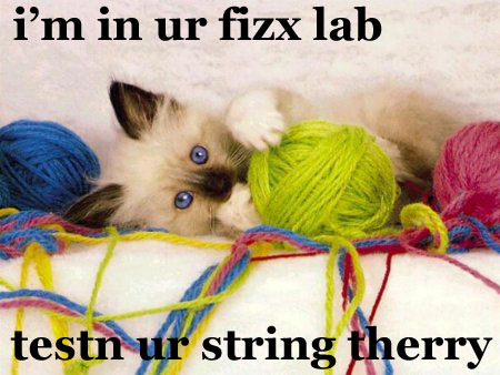 Lolcat: Kitty with a load of string balls. I'm im ur fizx lab... testn ur string therry