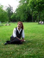 Janet sitting in Hyde Park