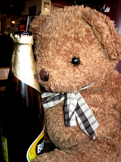 Mr Ted with a bottle of cider