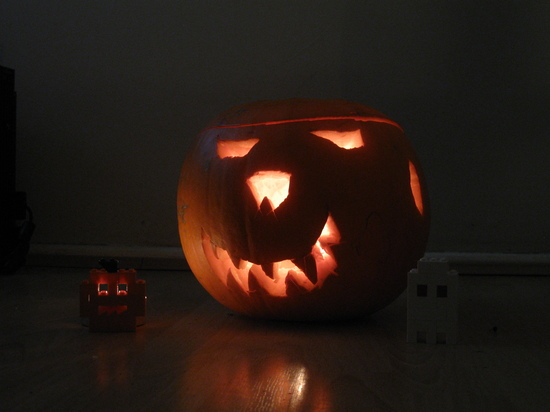 Pumpkin with lego pumkin and lego ghost