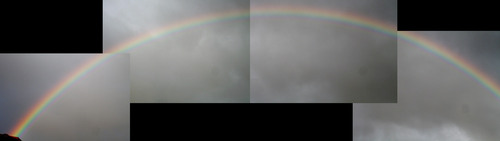 Stitched together view of rainbow