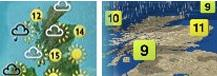 A comparison of the old and new BBC weather graphics styles, showing Scotland