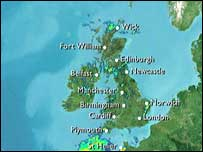 Old BBC weather graphics, showing rain